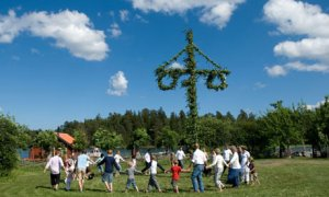 People celebrating midsummer, Sweden.