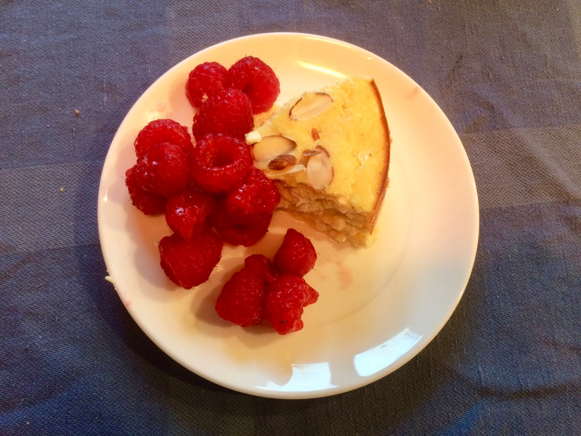 Curd cake and raspberries